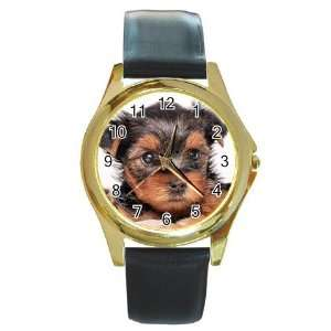 Yorkshire Terrier Puppy Dog 8 Round Gold Trim Watch Z0655
