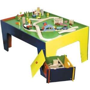 Wooden Train & Multi Colored Table and Toy Box Set, 90 Pc