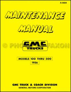 1956 GMC 100 500 Pickup and Truck Repair Shop Manual 56 Pickup Panel