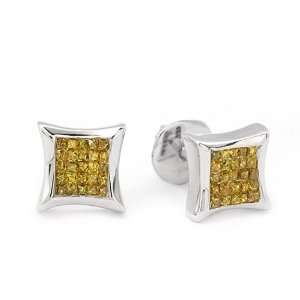Solid 14k white gold, Yellow Diamond Earrings Jewelry