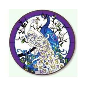 White & Blue Peacocks    Hand Painted Stained Art Glass Table W