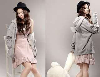 Women Girl Korea Cute Back Angel Wing Hoodie Fleeces Coat NEW Zipper