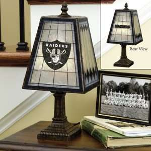 Oakland Raiders Art Glass Table Lamp Memorabilia. Sports