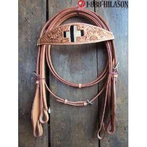 Western Tack Zebra Hair On Bridle Headstall & Reins 023