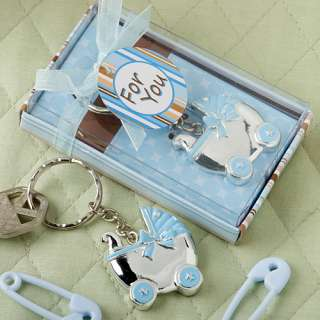 72 BLUE BABY CARRIAGE KEY CHAINS BABY SHOWER FAVOR