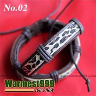 12 Styles Mens Womens Fashion Cool Leather Hemp Bracelet Wristband