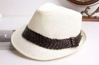 NEW vintage fedora straw trilby hats womens mens cap