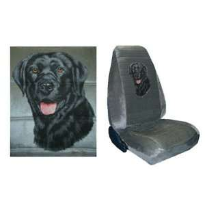 Car Truck SUV Black Lab Dog Print Seat Covers 2 Grey Universal High