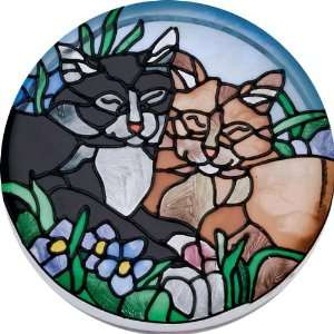 Tiffany Cats Hand Painted Art Glass Paperweight Coaster