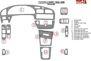 Toyota Camry 92 96 Interior Brushed Aluminum Dashboard Dash Kit Trim