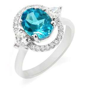 LenYa Specials   Womens Rhodium Plated Silver Gemstone Ring with AAA
