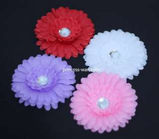 Lots 4 Crystal Daisy Hair Clips for Pettiskirt Headband