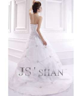 SALE Jsshan White Organza Beading Strapless Bridal Gown Wedding Dress
