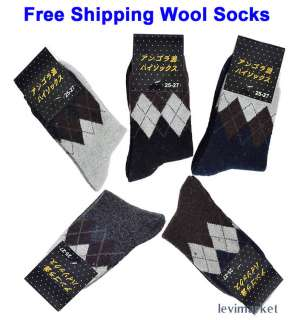 Warm In Winter Argyle Socks Angora Black Gray Coffee Blue Color