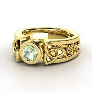 Celtic Sun Ring, Round Green Amethyst 14K Yellow Gold Ring Jewelry