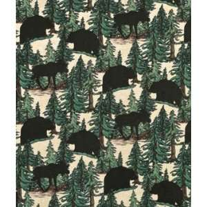 Cream/Green Animals & Trees Flannel Fabric Arts, Crafts