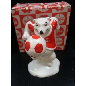 COCA COLA POLAR BEAR ALWAYS PLAYING SOCCER FIGURINE