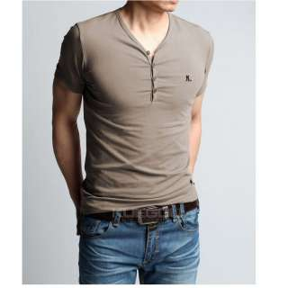 New Mens Fashion Casual Short Sleeve V Neck Slim Fit Tee T Shirt