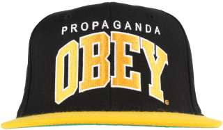 Obey Clothing Throwback Snapback Hat   Black/Gold