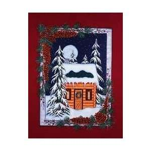 Snowy Wilderness Log Cabin Full Moon Night Mini Flag