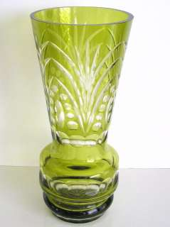 VINTAGE NACHTMANN LIME RESEDA CASED CUT TO CLEAR CRYSTAL VASE
