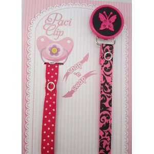 Hot Pink Butterfly Ribbon Pacifier Clip Baby