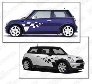 MINI Cooper Rally Checkered Pattern Side Stripes Decals