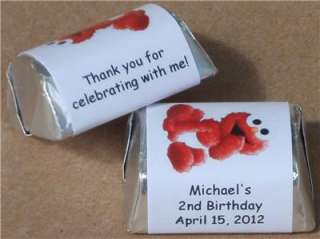 ELMO BIRTHDAY PARTY PERSONALIZED NUGGET CANDY WRAPPER LABELS FAVORS