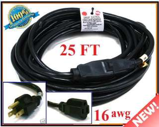 AWG HEAVY DUTY Imdoor/Outdoor Power Extension Cord Cable  BLACK