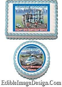 POLICE STATION CAR Birthday Edible Party Cake Image Cupcake Topper