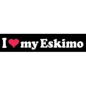 8 I Love My Eskimo Dog White Vinyl Decal Sticker