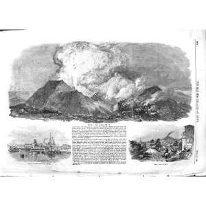 1852 MOUNTAIN MOUNT ETNA ERUPTION VOLCANO CATANIA