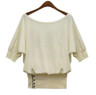 Trendy womens boat neck short sleeve T shirts loose blouse casual tops