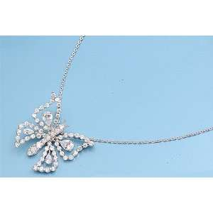 Sterling Silver Extricate Butterfly Clear CZ Necklace