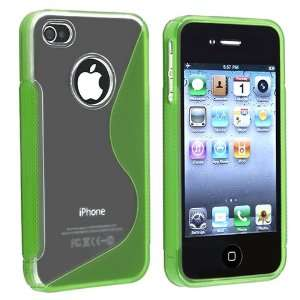 Clear / Frost Green S Shape TPU Rubber Skin Case + Clear