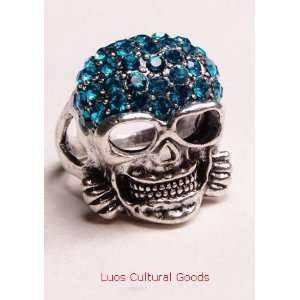 Luos Beautiful Skull Head Sterling Silver Ring with Blue Crystals