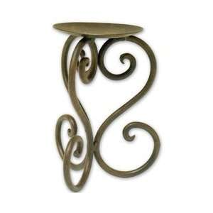 Luca Bella Home Wrought Iron Heart Pillar Holder Measures 4 3/8 X 4 3