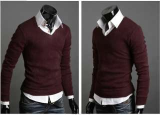 New Mens Casual Slim Fit Long Sleeve Sweater Shirts V Neck HC71