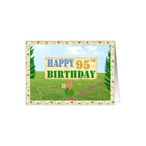 Happy 95th Birthday Sign on Footpath Card Toys & Games