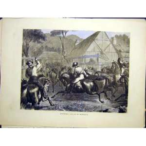 Mustering Cattle Australia Horses Old Print 1870