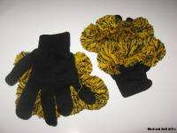 Steelers Football Colors Black Gold Pom Pom Gloves Mittens NEW