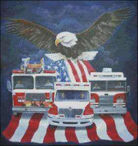 and American Flag Cross Stitch Pattern   IAFF, Fire Engine,