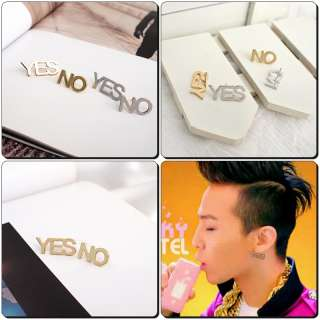 Korean Bigbang G dragon Style YES No earrings DE12