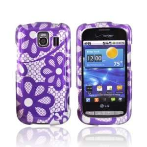 PURPLE FLOWER LACE SILVER For LG Vortex Hard Case Cover Electronics
