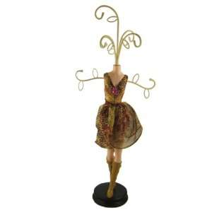 Brown Leopard Print Mannequin Jewelry Stand 17 Inches
