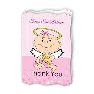 Angel Baby Girl   Personalized Baptism Thank You Cards With Squiggle