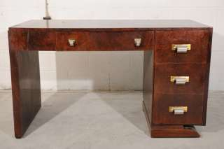 Antique Art Deco Walnut Office Desk from France 1940s