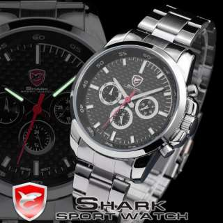 New SHARK 6 Hands Date Day Army Sport Quartz Men Watch