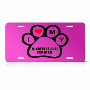 Miniature Bull Terrier Dog Dogs Pink Animal Metal License