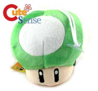 Super Mario Bros Plush Mushroom Set  Green/Pink 4.5in